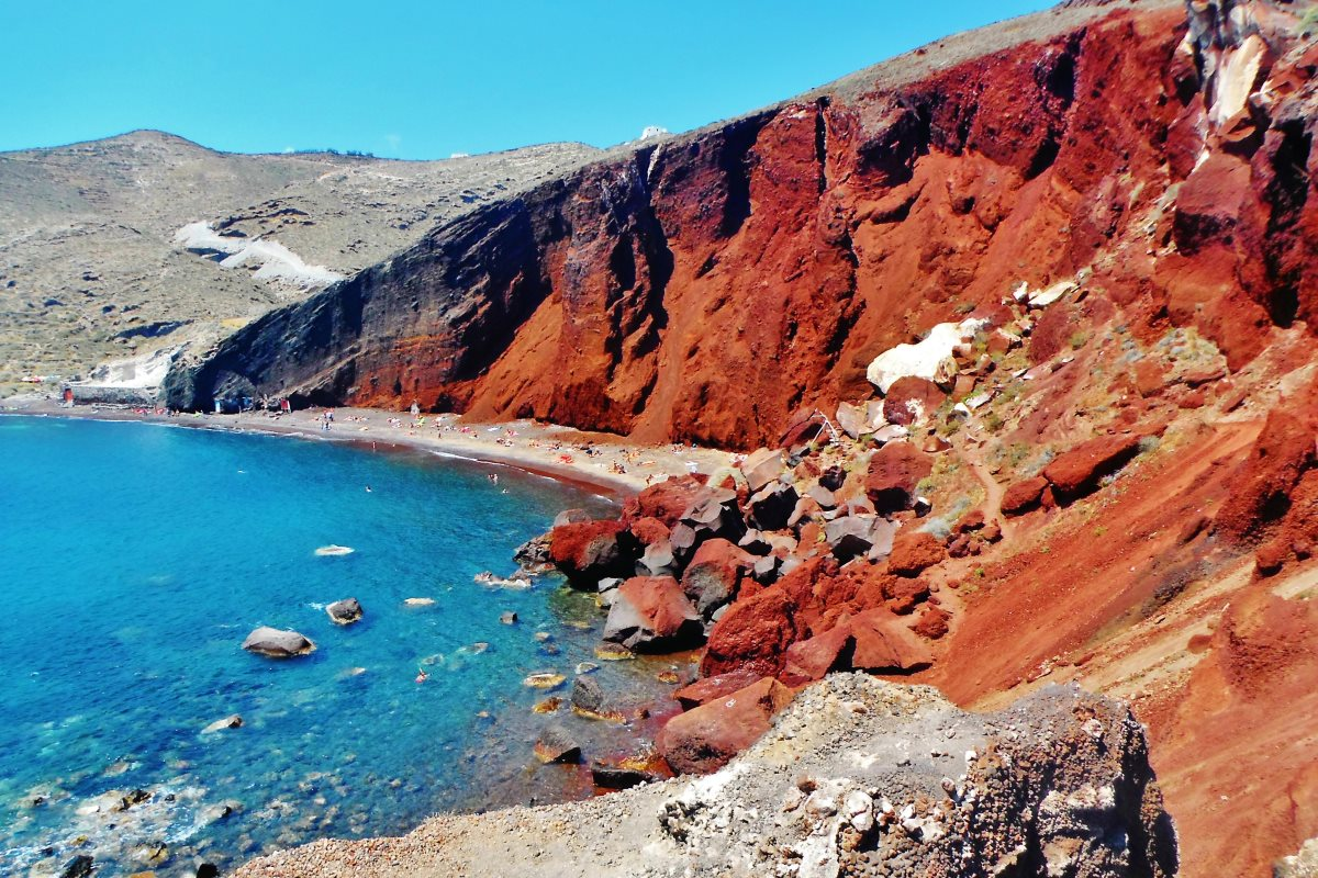Red Beach the famous beach is also near Akrotiri within 5 minutes of driving. The red rock formation